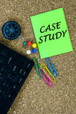 CASE STUDY. Words on green note royalty free stock photography
