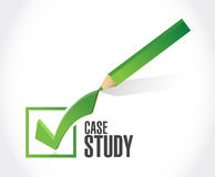 Case study check mark sign concept Stock Image