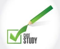 Case study check mark sign concept. Illustration design over white background Stock Image