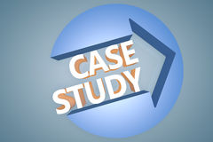 Case Study. 3d text render illustration concept with a arrow in a circle on blue-grey background stock illustration