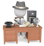 Case study. The dude at the office desk. Film noir style Royalty Free Stock Photography