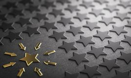 Case Study or focus on one element. Many stars in relief on paper background with focus on a golden one. Concept of case study or focus. 3D illustration royalty free illustration