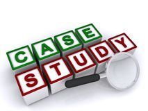 Case study. In green and red text on white blocks with magnifying glass on white background Royalty Free Stock Images