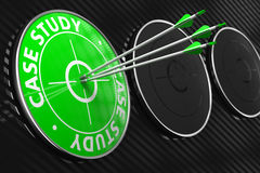 Case Study - Green Target. Case Study. Three Arrows Hitting the Center of Green Target on Black Background Royalty Free Stock Photography