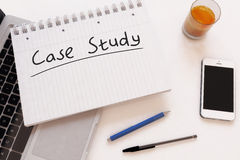 Case Study. Handwritten text in a notebook on a desk - 3d render illustration Stock Image