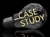 Case Study. Lightbulb on black background with text in it. 3d render illustration stock illustration