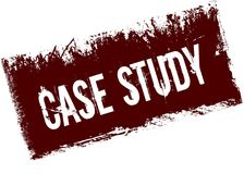 CASE STUDY on red retro distressed background. Illustration image Stock Images