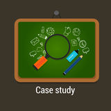 Case study studies icon flat laptop magnifier Royalty Free Stock Photography