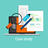 Case study studies icon flat laptop magnifier Royalty Free Stock Images