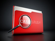 Case study text under magnifying glass. 3D illustration. Royalty Free Stock Photos