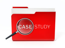 Case study text under magnifying glass. 3D illustration. Case study text under magnifying glass standing on red folder. 3D illustration Stock Image