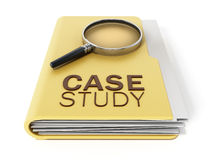 Case study text under magnifying glass. 3D illustration. Case study text under magnifying glass standing on yellow folder. 3D illustration Stock Photo