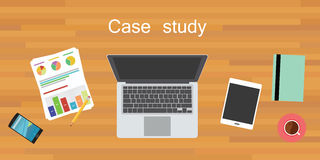 Case study. Wood work desk flat vector Royalty Free Stock Photography