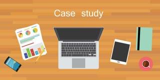 Case study. Wood work desk flat vector stock illustration