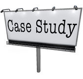 Case Study Words Billboard Banner Sign Example Anecdote. Case Study words on a white billboard, banner or sign to illustrate a business best practice, example or Stock Photo