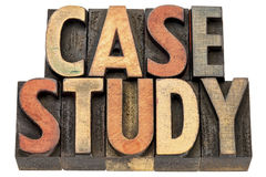 Case study words in wood type. Case study, - text in vintage letterpress wood type printing blocks stock photography