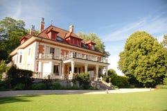 Case suburbane di lusso nel giorno soleggiato Immagine Stock Libera da Diritti