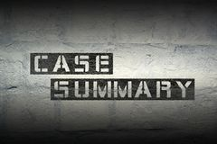 Case summary gr. Case summary stencil print on the grunge white brick wall Stock Photos