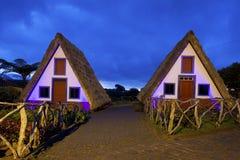 Case tradizionali del Madera a Santana fotografia stock libera da diritti