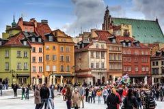 Case urbane sul quadrato del castello a Varsavia Fotografie Stock Libere da Diritti