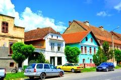 Case urbane tipiche Paesaggio urbano nei Rupea-rep della città, la Transilvania Immagini Stock