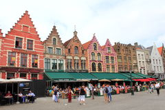 Case variopinte Bruges Belgio Immagine Stock