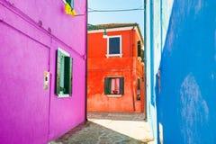 Case variopinte in Burano, Venezia, Italia Immagine Stock Libera da Diritti