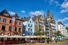 Case variopinte in Colonia, Germania immagine stock