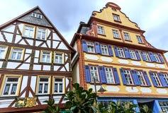 Case variopinte della struttura in Butzbach, Germania fotografia stock libera da diritti