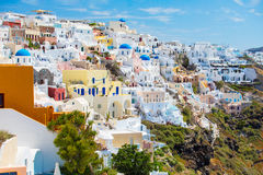 Case variopinte di Santorini, Grecia Immagine Stock