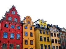 Case variopinte nella vecchia città della città di Stoccolma fotografia stock libera da diritti
