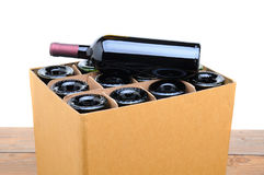 Case of Wine with Bottle on Top Stock Photo