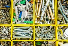 Case With Small Construction Objects. Set Metal Work Repair In B Royalty Free Stock Photography