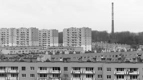 Caseggiato - concetto in bianco e nero di postcomunismo Fotografia Stock