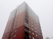 Caseggiato ricostruito in repubblica Ceca sviluppata nell'era di comunismo immagini stock