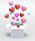 casella aperta del cuore di colore di amore del galleggiante 3D Fotografie Stock Libere da Diritti