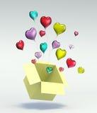 casella aperta del cuore di colore di amore del galleggiante 3D Fotografia Stock