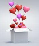 casella aperta del cuore rosso di amore del galleggiante 3D Fotografia Stock