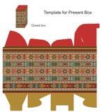 Casella attuale con gli ornamenti etnici Immagini Stock