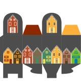 Casella attuale con le case Immagini Stock