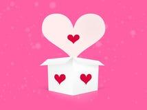 Casella bianca con i cuori del biglietto di S. Valentino Fotografie Stock Libere da Diritti