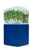 Casella blu scuro con gli euro Fotografie Stock Libere da Diritti
