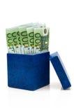 Casella blu scuro con gli euro Immagini Stock