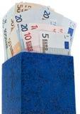 Casella blu scuro con gli euro Immagine Stock Libera da Diritti