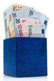 Casella blu scuro con gli euro Fotografia Stock