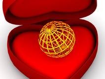 Casella come cuore con un globo Fotografia Stock