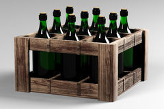 Casella con le bottiglie di vino Fotografie Stock Libere da Diritti