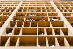 Casella con le lettere per il torchio tipografico Fotografie Stock Libere da Diritti