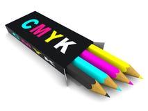 Casella con le matite. CMYK Immagini Stock Libere da Diritti