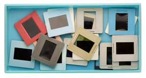 Casella con le vecchie trasparenze polverose Fotografia Stock Libera da Diritti
